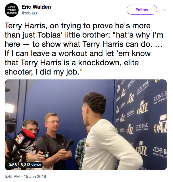Terry Harris trying to prove he's more than just Tobias' little brother